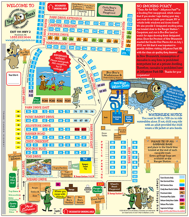 Jellystone Park Woodstock New Brunswick Campground Map